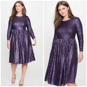 NWT Eloquii Purple Sequin Dress